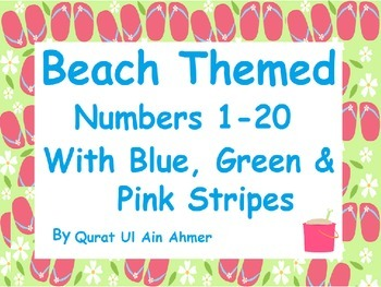 Beach Themed Word Wall Numbers with Pink, Blue and green Stripes 0 to 20: