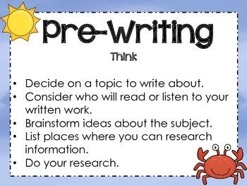 Beach Themed Writing Process