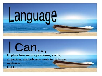 "Beach Themed grade 3 Common Core ""I Can"" statement posters - Language"