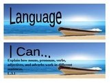 """Beach Themed grade 3 Common Core """"I Can"""" statement posters - Language"""