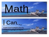 "Beach Themed grade 3 Common Core ""I Can"" statement posters - Math"