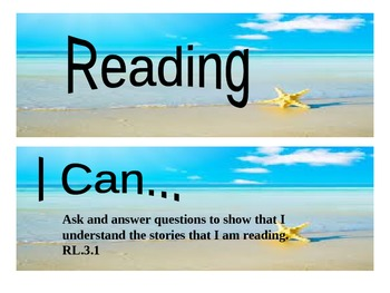 """Beach Themed grade 3 Common Core """"I Can"""" statement posters - Reading"""