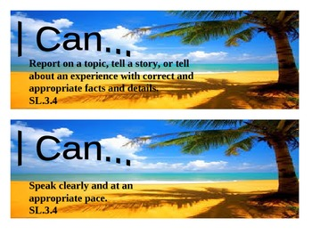 "Beach Themed grade 3 Common Core ""I Can"" statement posters - Speaking/Listening"