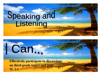 """Beach Themed grade 3 Common Core """"I Can"""" statement posters"""