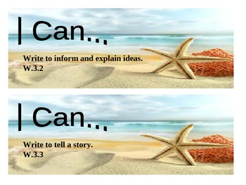 """Beach Themed grade 3 Common Core """"I Can"""" statement posters - Writing"""