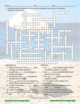 Beach Things and Activities Interactive Spanish Crossword-Google Apps
