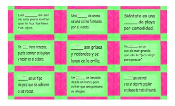 Beach Things and Activities Spanish Card Game