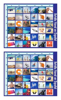 Beach Things and Activities Spanish Legal Size Photo Battleship Game