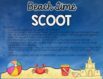 Beach Time SCOOT: Telling Time to the Hour and Half Hour (1.MD.B.3)