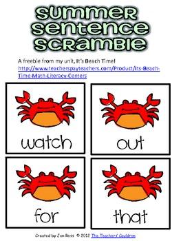 Beach Time Sentence Scramble Freebie