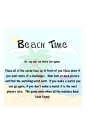 Beach Time -ng and -nk Word and Picture Match