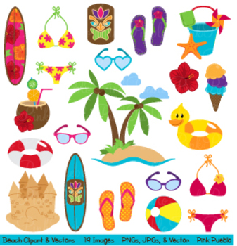 Beach, Travel and Summer Vacation Clipart and Vectors