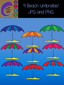 Beach Umbrellas 9 Clip Art  Color Images