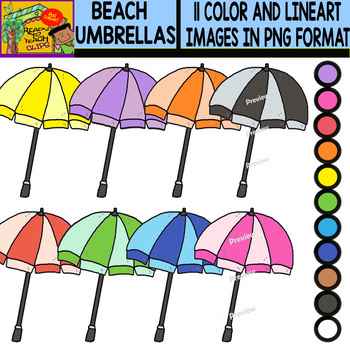 Beach Umbrellas - Colorful Cliparts Set - 11 Items