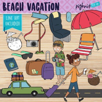 Beach Vacation Holiday Clipart | Travel Themed Items and Characters