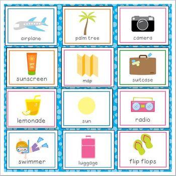 Beach Vacation Vocabulary Cards for Preschool and Kindergarten