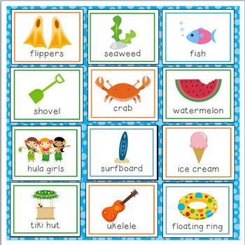 Beach Vacation Vocabulary Cards for Preschool and ...