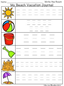 Beach Vacation Write / Stamp the Room Activity Pack