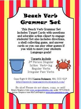Beach Verb Grammar Set