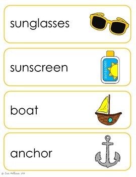 Beach Vocabulary Cards and Spelling Practice