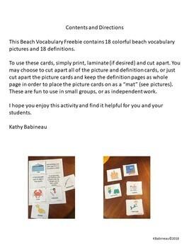 Beach Vocabulary Freebie