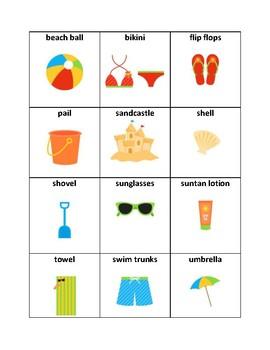 Beach Vocabulary - Writing Resource
