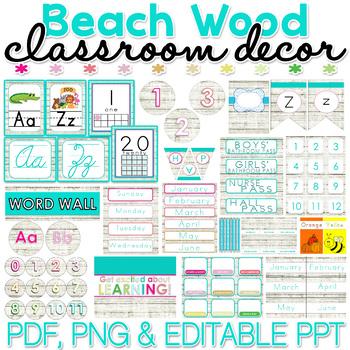 Beach Wood Classroom Decor Pack EDITABLE
