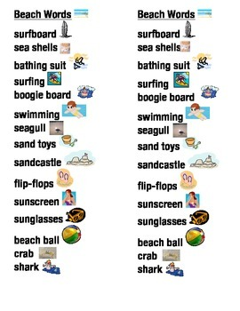 Beach Word Picture Sentence Helpers