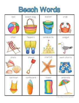 Beach Words for writing center and write-the-room