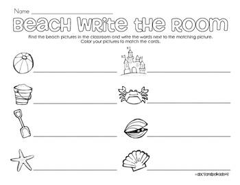 Beach Write the Room (8 words)