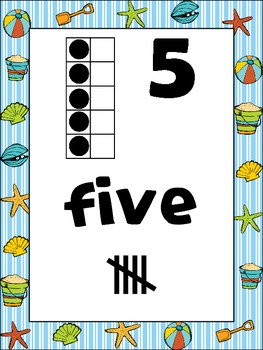Beach and Ocean Number Posters {Common Core Math} ocean sand seashell
