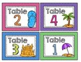 Beach and Polka Dot Table Signs