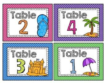 Beach and Polka Dot Table Signs