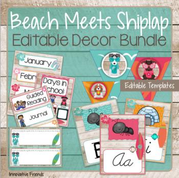 Beach and Shiplap Classroom Decor Bundle