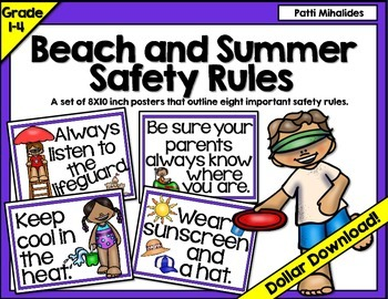 Beach and Summer Safety Rules Classroom Bulletin Board Display