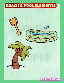 Beach and pool elements clipart