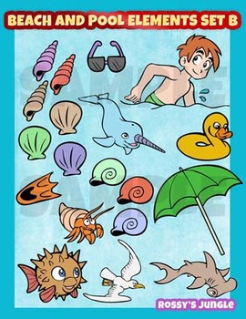 Beach and pool elements clipart set 2