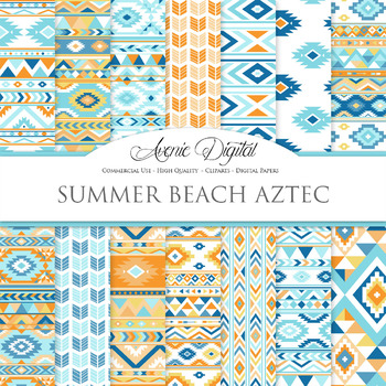 Beach aztec Digital Paper arrows tribal orange blue scrapbook background