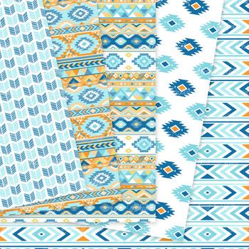 Beach aztec Digital Paper arrows tribal orange blue boho scrapbook background