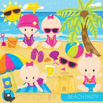 Beach baby clipart commercial use, graphics, digital clip art - CL874