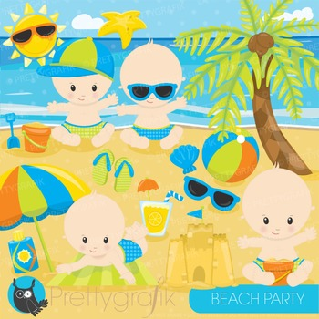 Beach baby clipart commercial use, graphics, digital clip art - CL875