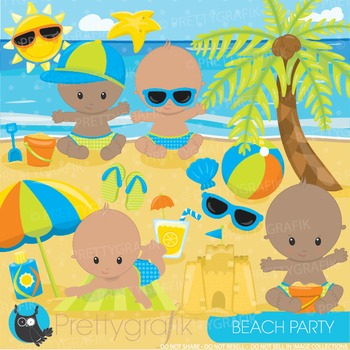 Beach baby clipart commercial use, graphics, digital clip art - CL893