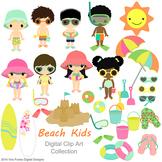 Beach kids Digital Clipart, clip art