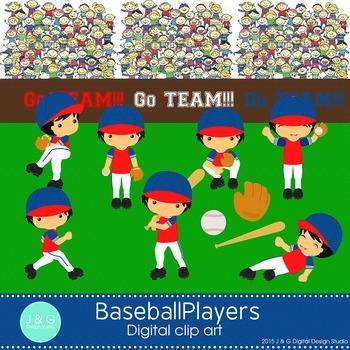 Baseball Players Digital Clipart, clip art