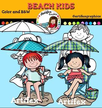 Beach kids clip art.  Color and B&W