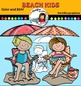 Beach kids clip art.  Color and B&W