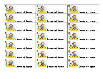 Beach ocean theme homework folder labels