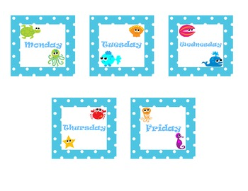Beach or Ocean Theme Days of the Week Labels