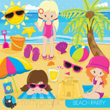 Beach party clipart commercial use, graphics, digital clip art - CL849