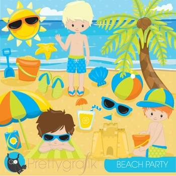 Beach party clipart commercial use, graphics, digital clip art - CL850
